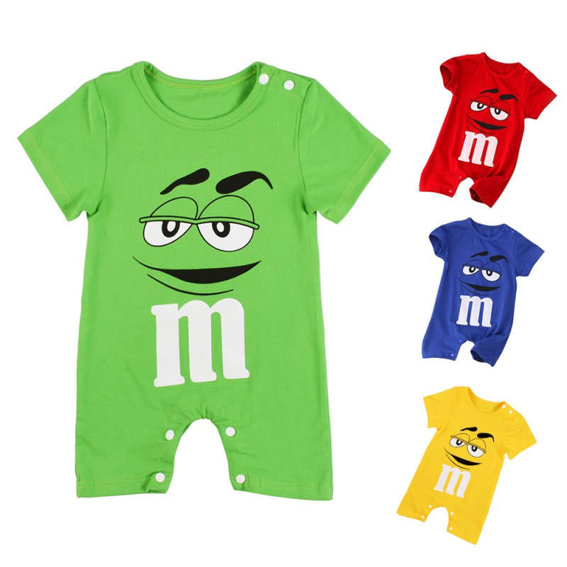 Baby Summer Short Sleeve Cotton Comfortable Jumpsuit Romper Cute MM Bean Cartoon Printed Jumpsuit Newborn Baby Boy Girl Clothes