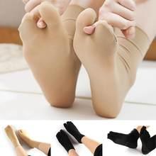 1 par de senhoras malha dois dedo do pé meias flip flops rasa antiderrapante invisível dois dedos antiderrapante meias de seda feminino choques