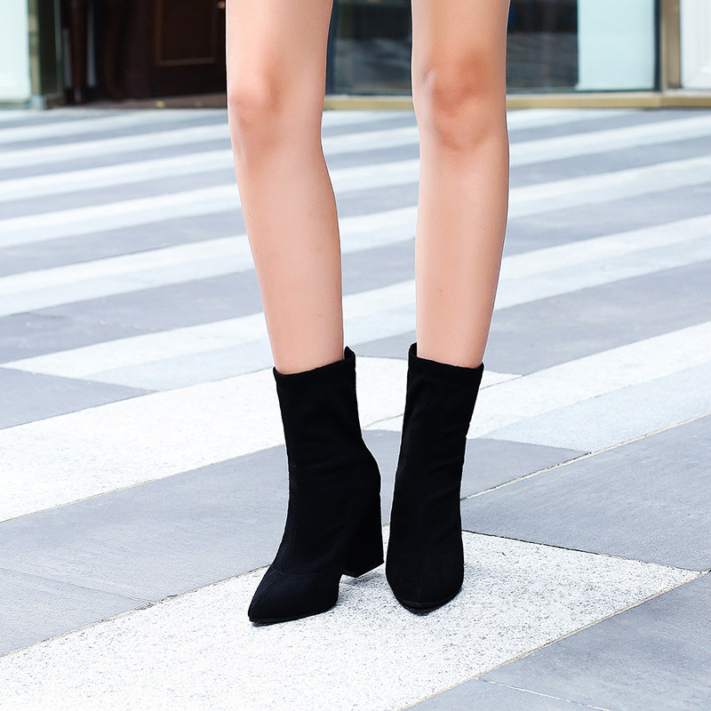 2019 autumn and winter new mouth zipper simple sweet <font><b>boots</b></font> t01