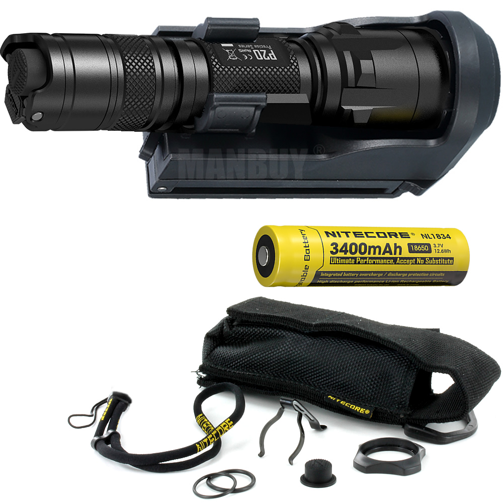 NITECORE P20 P20UV 800LMs Flashlight + NTH25 Holster + 3400mAh 18650 Rechargeable Battery Boxset Waterproof Outdoor Camp Hunting