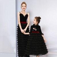 Mother Daughter Formal Wedding Dress Girls Princess Ball Gowns Women Girls Bride Dress Matching Family Outfits Clothes Sister