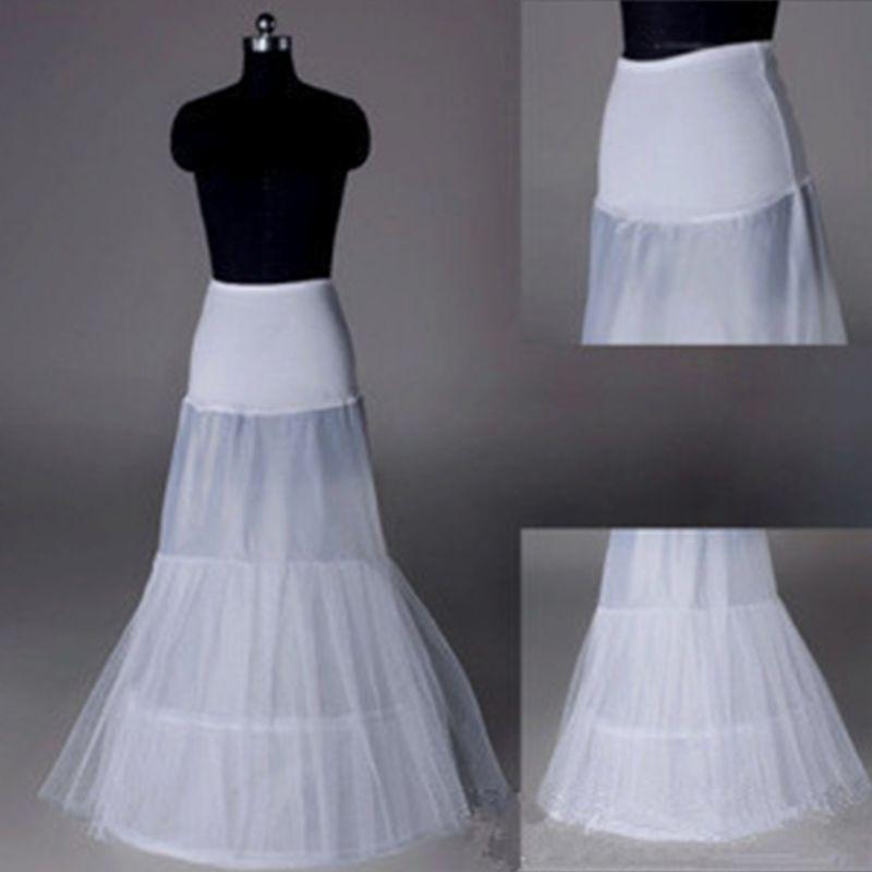 Womens Floor Length A-Line Petticoat Fishtail Crinoline Bridal Wedding Dress Tulle Layered 2 Hoops Elastic Underskirt Half Slips