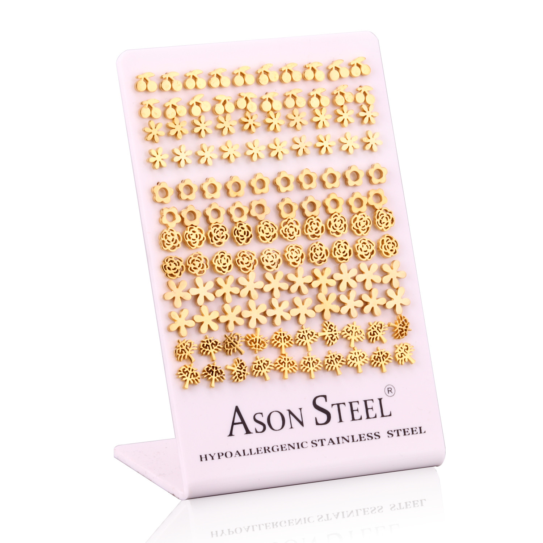 Image 2 - LUXUKISSKIDS 60paris/lot Different Patterns Small Stud Earrings  Set Stainless Steel Screw Plug Earring For Women Kids Girl MenStud  Earrings