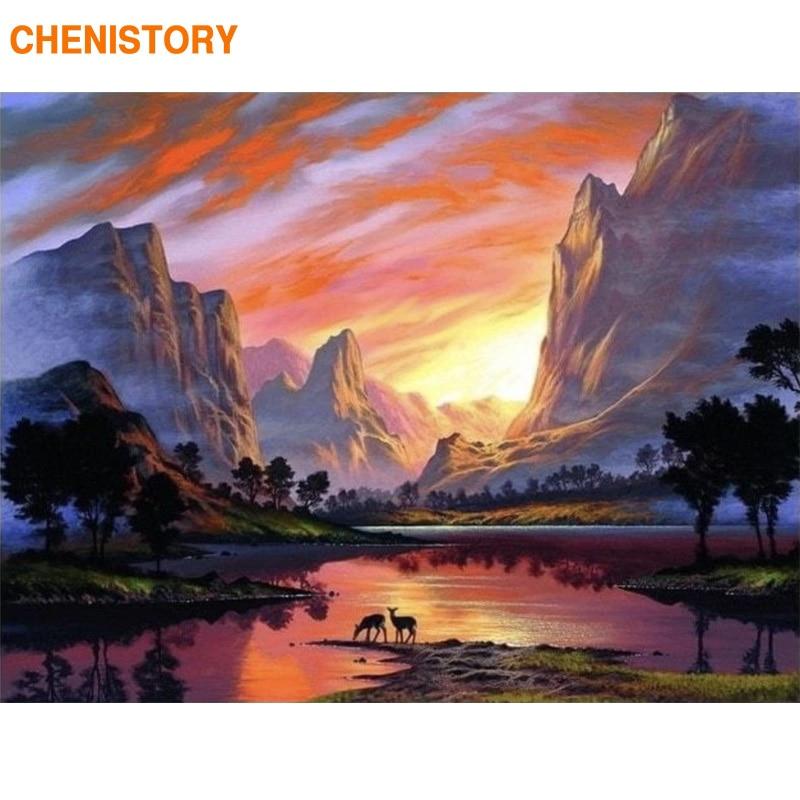 Купить chenistory рамка diy живопись по номерам закат пейзаж каллиграфия