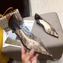 New Fashion Clear Block Lace Middle Heels Women's Pointed Toe Sexy Stilettos Shallow Office Party Wedding Pumps two part clear block heels