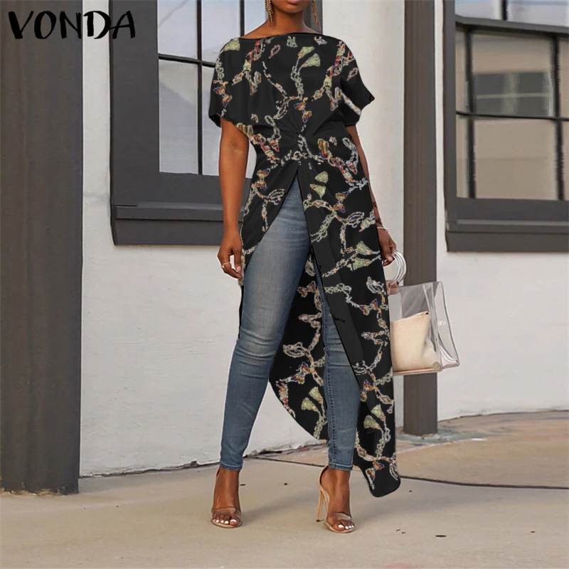Asymmetrical Tunic Women's Tops 2020 Summer Ladies Shirts Vintage Floral Printed Long Blouse Female Plus Size Casual Blusa S-5XL