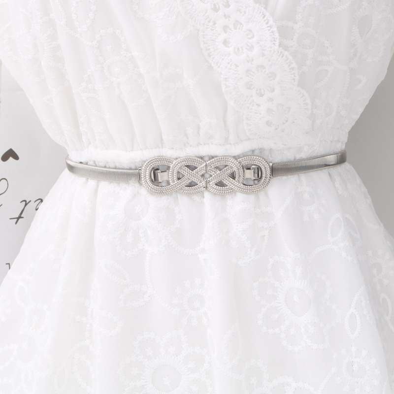 Hde666e12b2a14668bf1185c693ff1674N - Korean Elastic Metal Waist Silver Gold Chain Belts Female Maple leaf Bow Buckle for Women Dresses Strap Waistband Cummerbunds