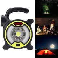 Wielofunkcyjny COB przenośny reflektor LED LED światło robocze Solar akumulator na zewnątrz Camping lampa podróżna latarka LED na USB