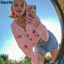 Sweet Embrodiery Cherry Harajuku Pink Knitted Cardigan Women 2020 Autumn Button Long Sleeve White Cute y2k Cropped Top Winter