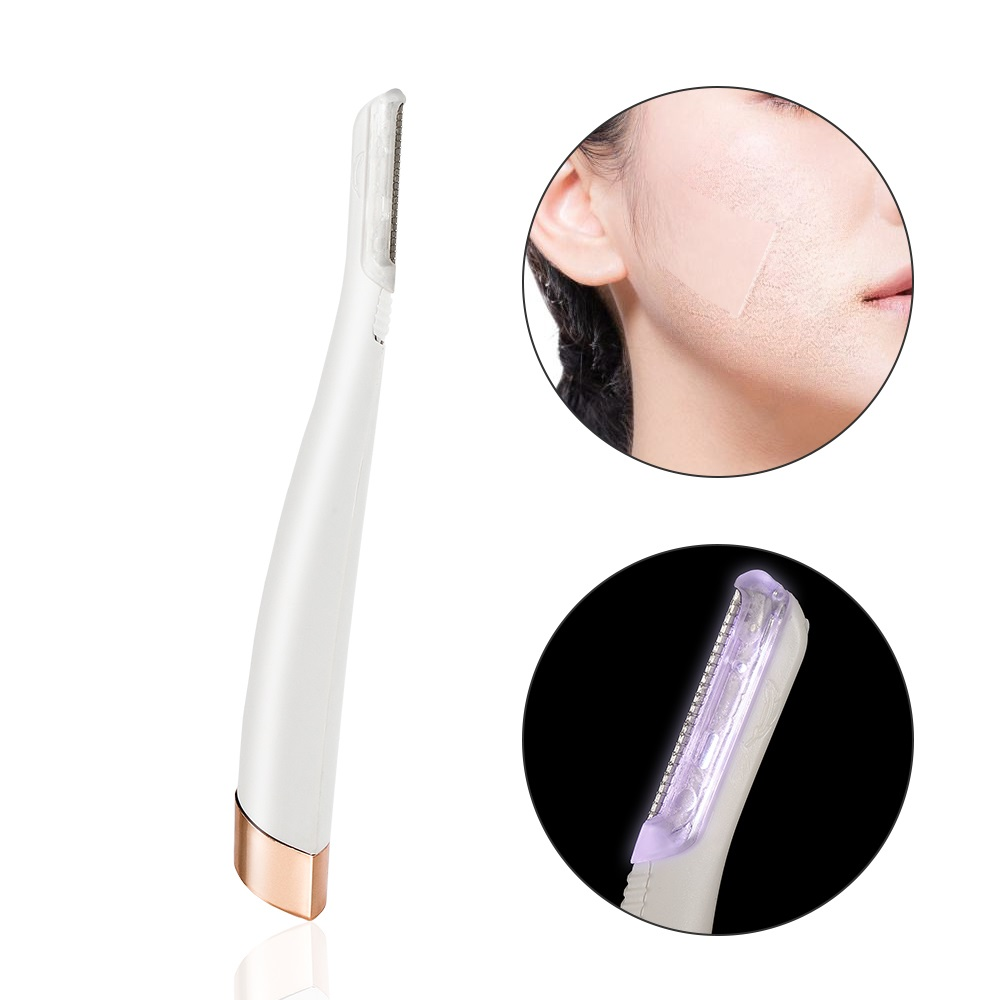 LED Lighted Facial Expoliator Face Hair Remover Shaver Electric Female Eyebrow Trimmer Razor Painless Expoliates Dead Skin