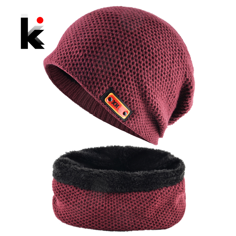 Winter Beanie Men Warm Knitted Hat And Scarf Sets Thick Double Layer Add Velvet Skullies Beanies Women Sport Casual Bonnet Sets