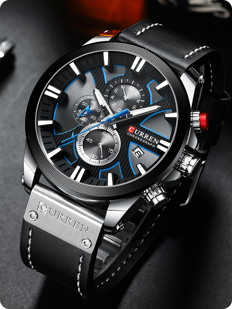 Male Wristwatch Clock Gift Quartz Chronograph Sport Masculino Men Relogio CURREN