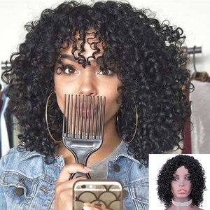 Женские парики из кудрявых волос, короткие кудрявые парики из бразильских волос Remy, с фигуркой Пикси