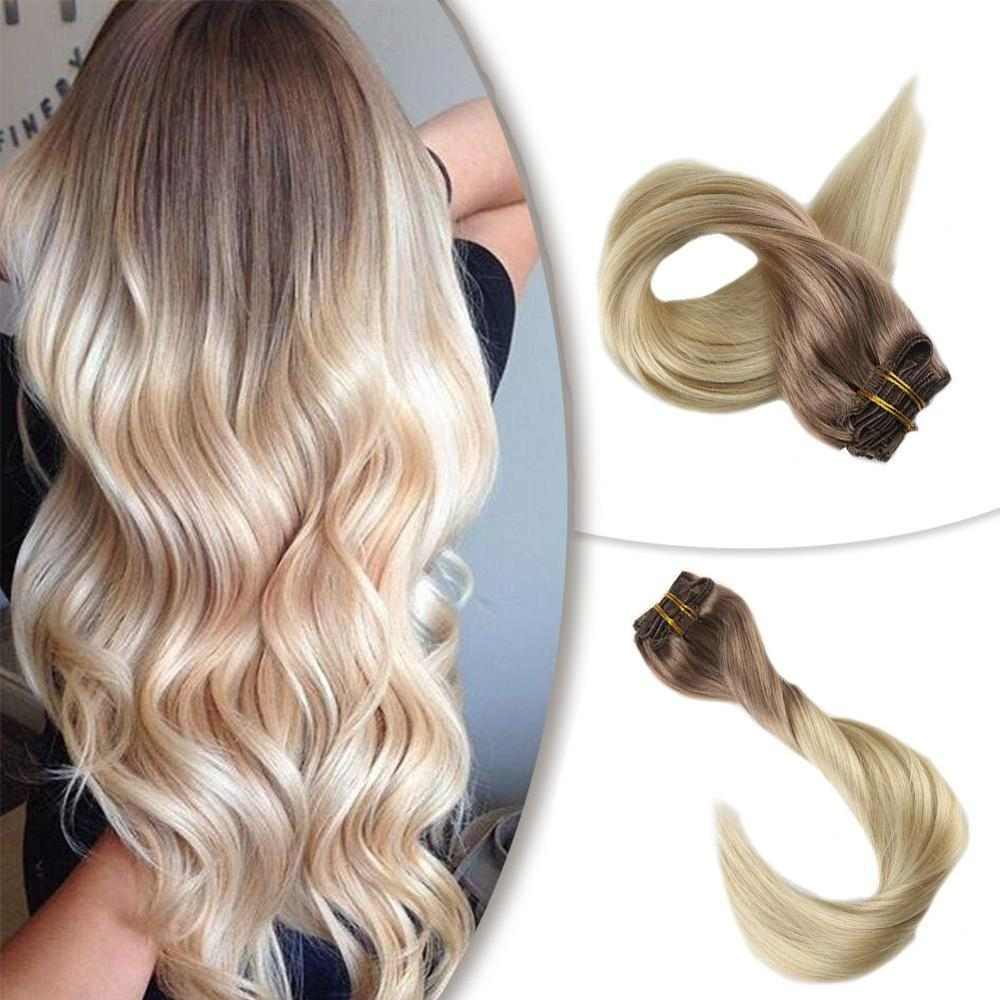 Lowest Price! Full Shine 7Pcs 100g Clip In Extensions Ombre Color100% Human HairMachine Made Remy Clip In Dyed Double Weft Hair