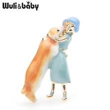 Wuli&baby Pink Blue Dress Girl Hugging Dog Brooches Women Alloy Enamel Animal Casual Party Brooch Pins Gifts