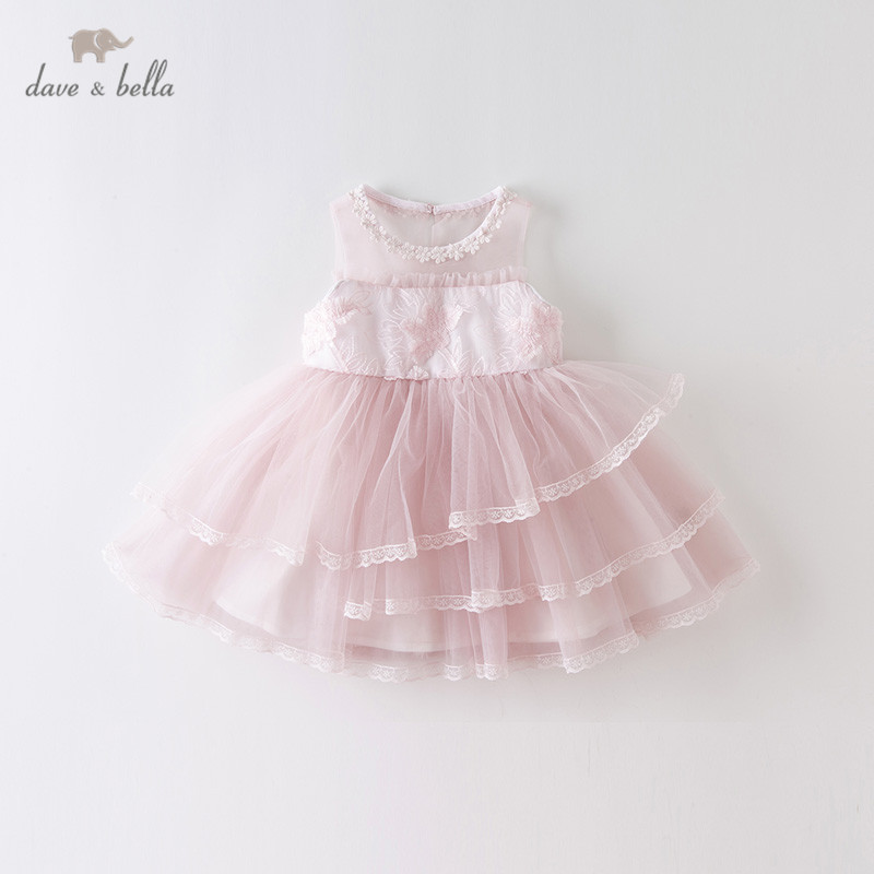 DB13058 dave bella summer baby girl's cute floral appliques mesh dress children fashion party dress kids infant lolita clothes