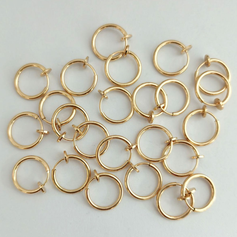 2 Pc Small Hoop Retractable Earring Stainless Steel Ear Rings Brinco Circle Without Hole Fake Cartilage Earring No Need Piercing