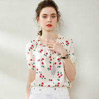 100% Pure Silk Women's Shirts Ruffles Lace Up Collar Fruits Printed Short Sleeves Fashion Pullover Blouse Tops
