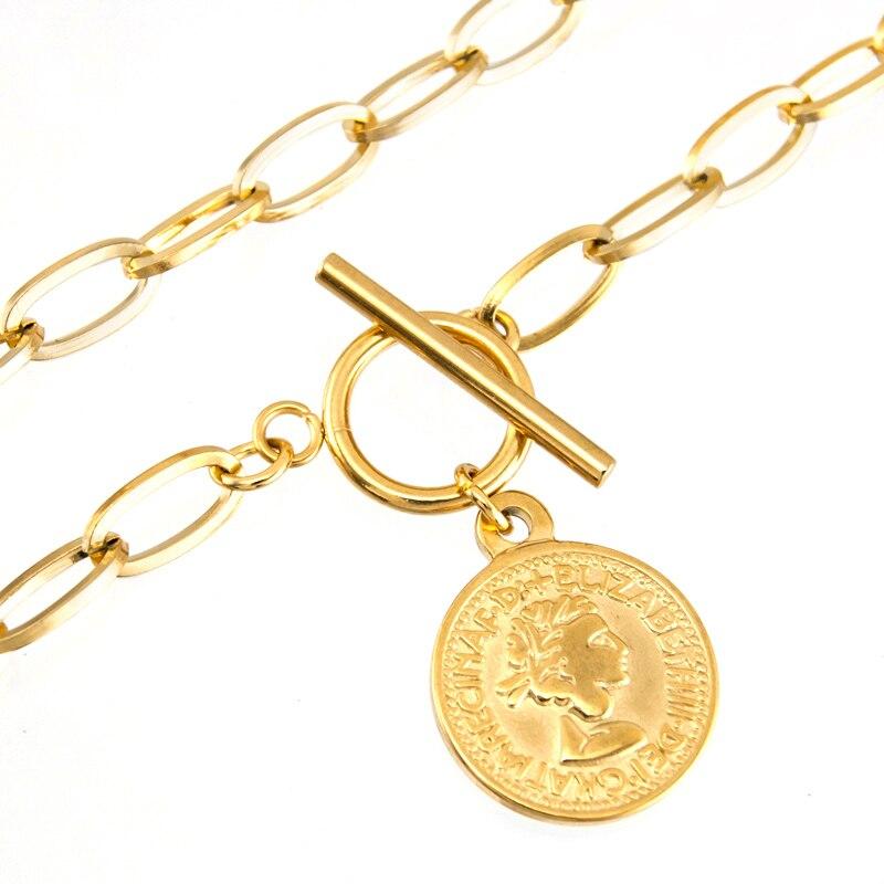 S.steel WOMEN coin penny Long T BAR CHOKER NECKLACE GOLD COLOR Toggle PENDANT NECKLACE collares de moda Boho Collier gift
