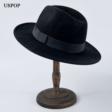 USPOP 2019 New fashion fedoras women wool hat  bow Jazz men winter black couple hats