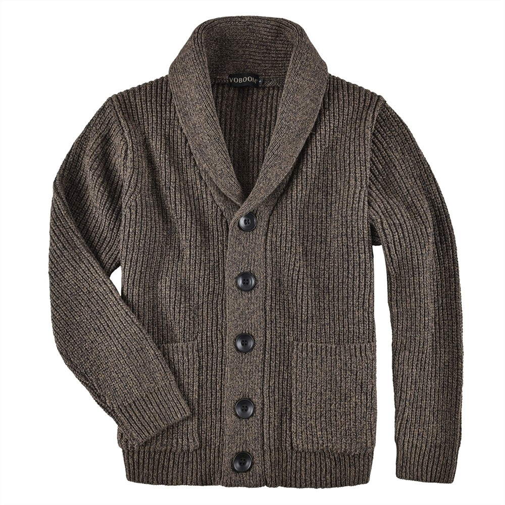 VOBOOM Men's Sweater Autumn Winter Warm Knitted Cardigan Sweaters Thick Man Casual Knitwear Male Out Coat With Pockets 500