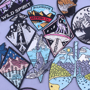 Pulaqi Mountain Space Stripe Applique Patch Iron On Embriodered Patches Fro Clothing Natural Trave Adventure UFO Badge Stickers