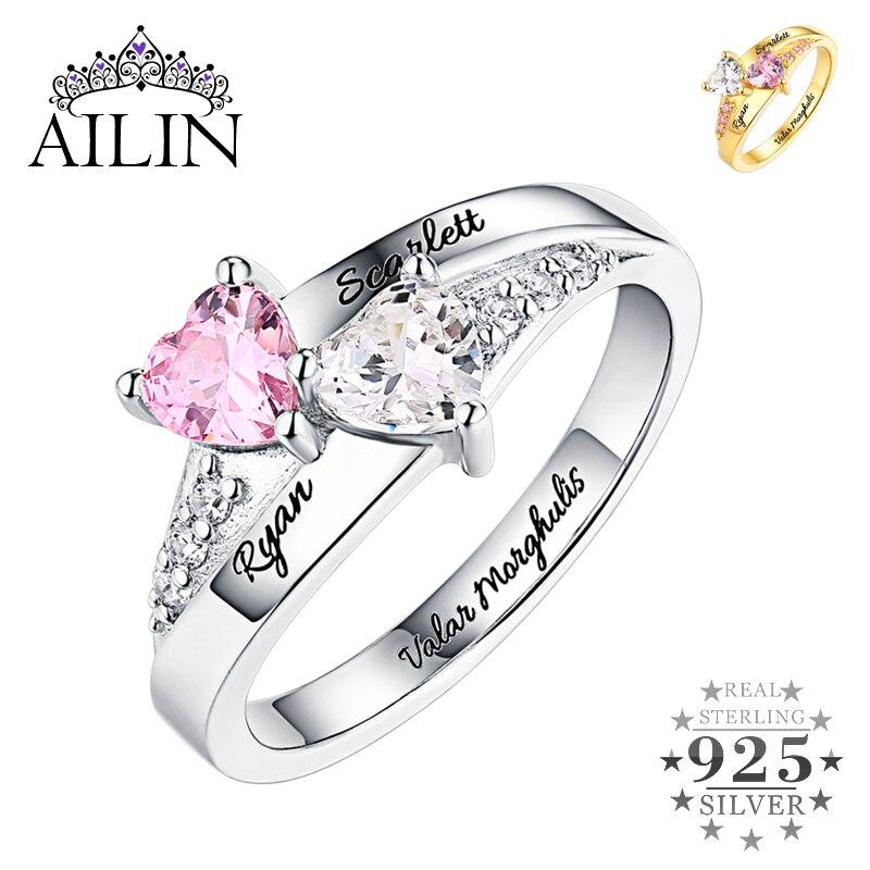 AILIN personnalisé 925 en argent Sterling anneaux femmes hommes Couple 18K plaqué graver anneau de mariage nom cubique zircone bijoux de fiançailles