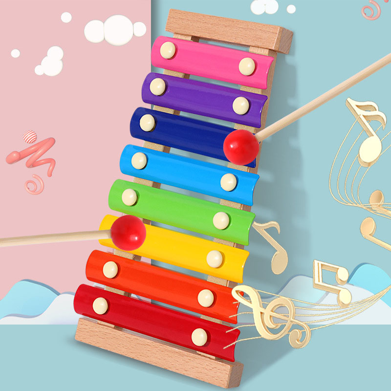 Color Octave Musical Wooden Toys Hand Knock Piano Baby Early Childhood Xylophone Infants Children's Educational Kids Toy Gifts