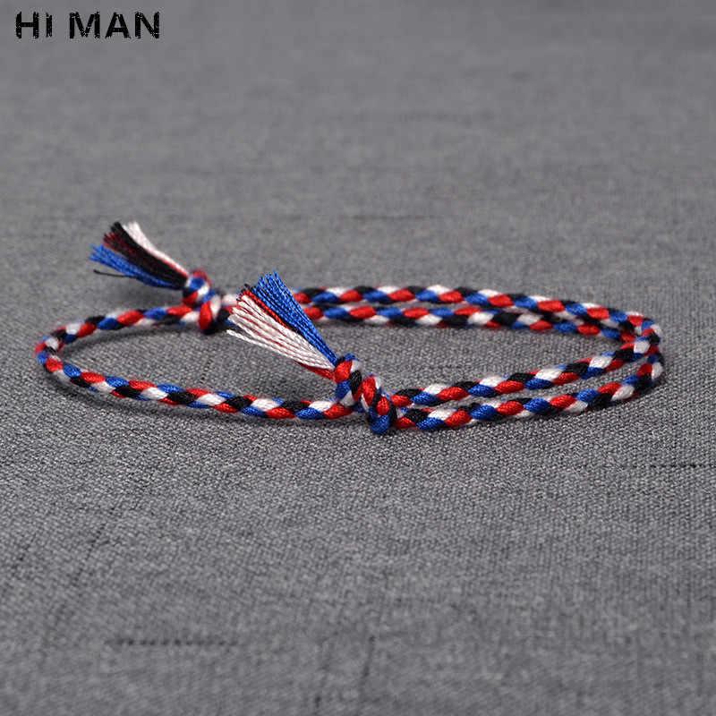 مرحبا رجل 15 نمط جديد تصميم اليابانية القطن حبل اليدوية سوار المرأة موضة بسيطة اللون التفاف سوار الصداقة هدية