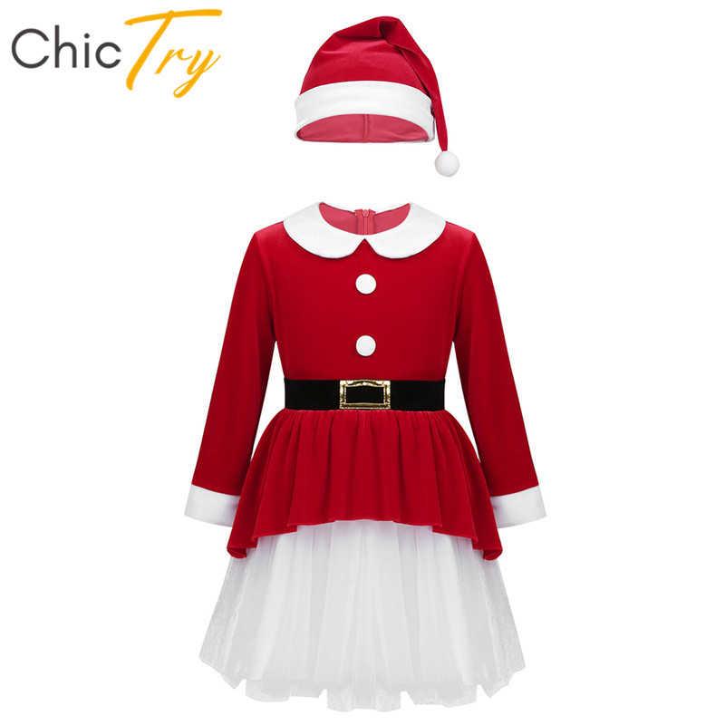 ChicTry Kids Xmas Costume <font><b>Long</b></font> <font><b>Sleeves</b></font> <font><b>Red</b></font> Soft Velvet Mesh Splice Holiday Party Santa Roleplay <font><b>Girls</b></font> <font><b>Christmas</b></font> <font><b>Dress</b></font> Hat Set image