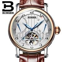 2019 Swiss Watch BINGER Fashion Mens watches top brand luxury Automatic watch men Tourbillon Calendar Week Sapphire Waterproof