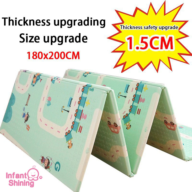 Bébé brillant épaissi 1.5cm tapis de jeu 200*180cm pliable dessin animé bébé tapis de jeu enfants ramper Pad Puzzle antidérapant tapis de jeu