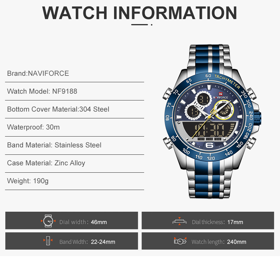 NAVIFORCE 9188 Steel Watch 9