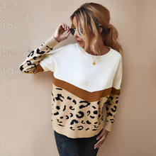 Осенне зимний модный Леопардовый женский вязаный свитер с длинным