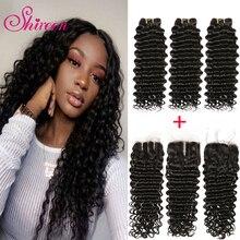 Shireen malaio onda profunda pacotes com fechamento remy cabelo humano tece 3/4 pacotes lida com laço 4*4 fechamento extensão do cabelo