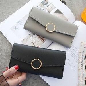 Новый модный кошелек, кожаный женский кошелек, Длинный кошелек из искусственной кожи, на молнии, с металлическим кольцом, кошельки, Женский ...