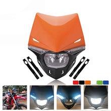 Universal s2 12 v 35 w universal motocicleta farol cabeça lâmpada led luzes e brisa para sujeira pit bike atv