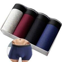 4шт/много боксеры мужчины хлопок трусы мягкий дышащий Homme мужской шорты мужчины сплошной удобные трусы