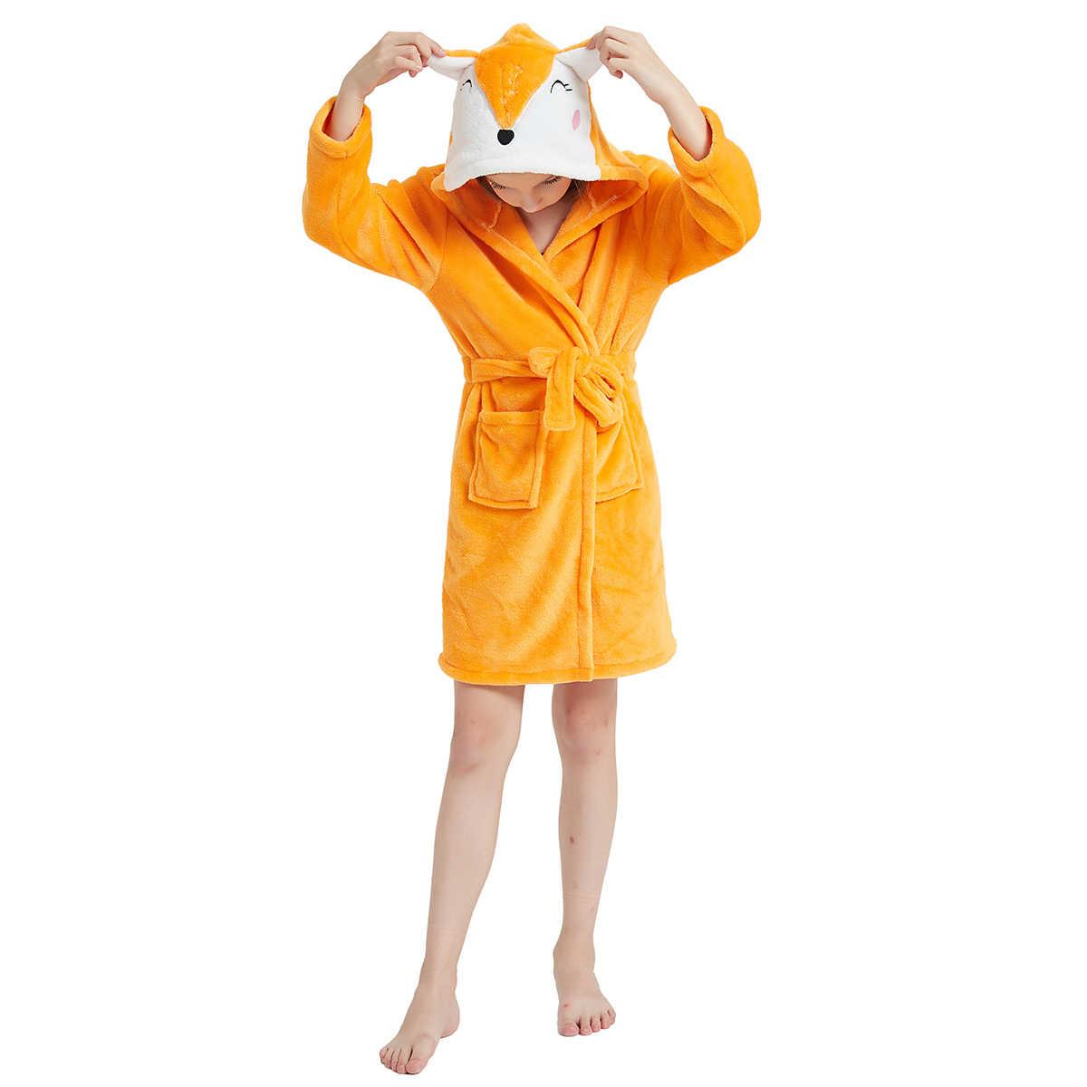 漫画の子供のローブフランネルベビーバスローブ長袖フード付きの子供バスローブ動物子供男の子女の子バスローブキッズユニコーンローブ