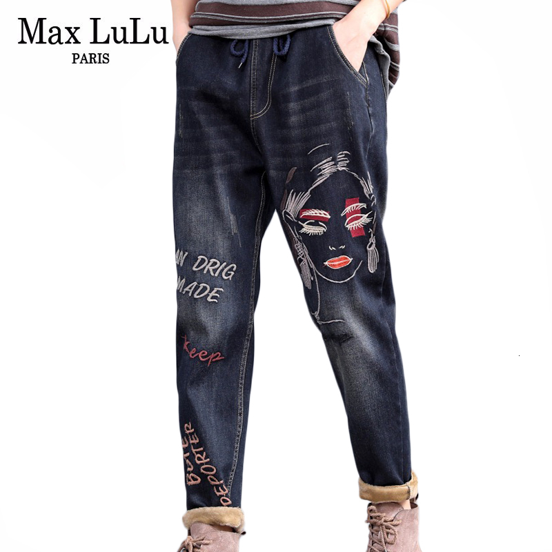 Max LuLu 2019 Fashion Korean Ladies Winter Punk Denim Trousers Womens Embroidery Fur Warm Jeans Vintage Harem Pants Plus Size