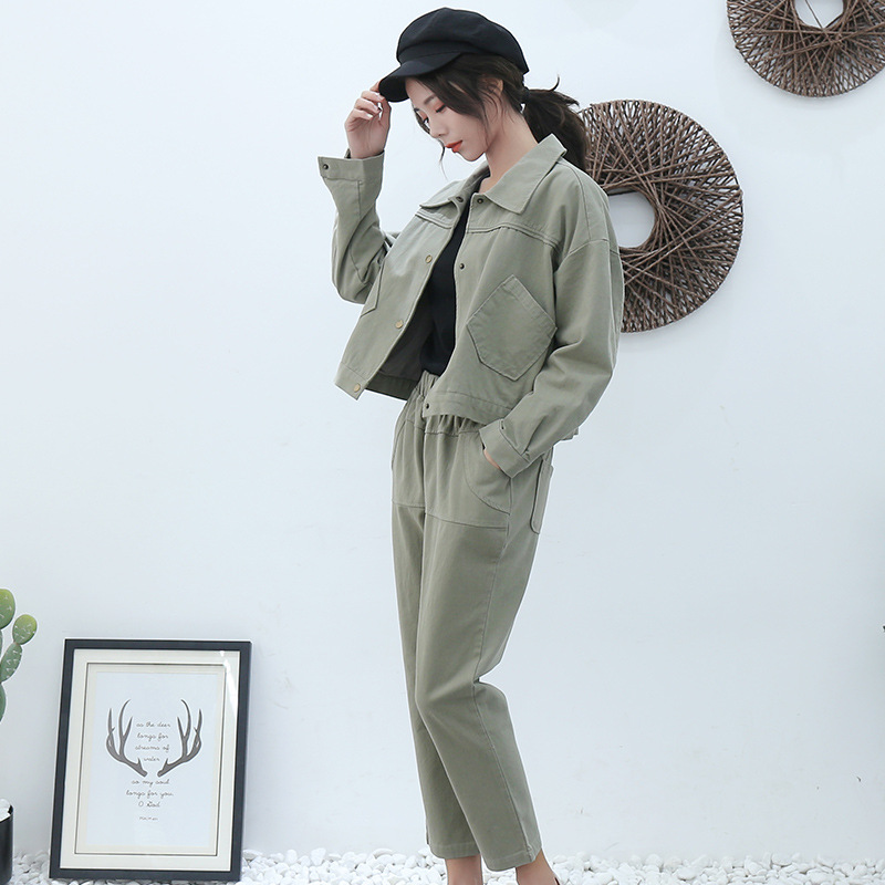 2019 Spring And Autumn New Style WOMEN'S Dress Army Green Simple Leisure Suit Women's Fashion Coat Pants Two-Piece Set Wholesale