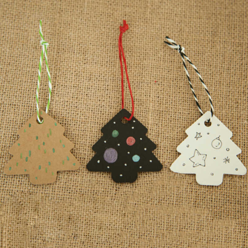 ขาย 50 ชิ้น/เซ็ต DIY Kraft Christmas Tree Shape BLANK Hang Tag Christmas PARTY ตกแต่งกระดาษการ์ดของขวัญป้ายป้าย