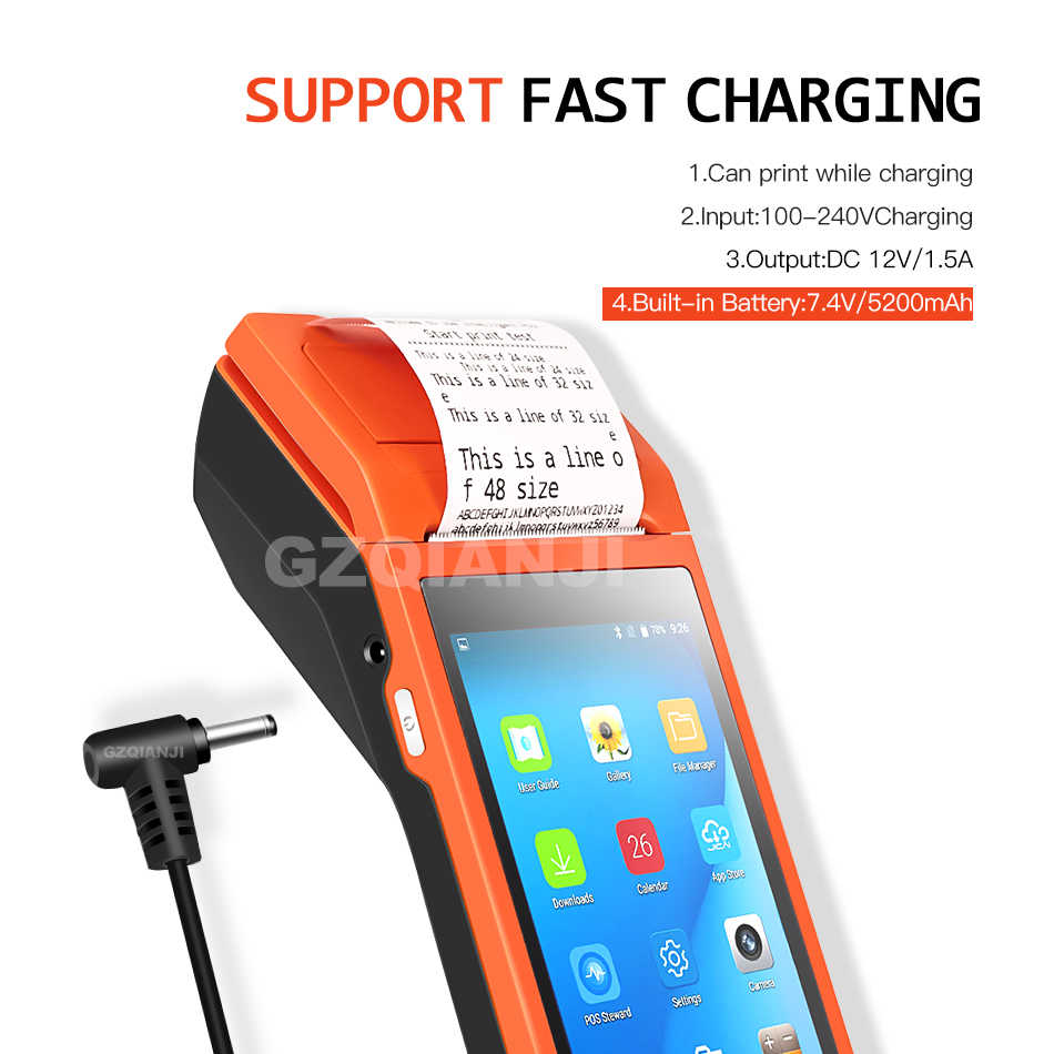 Портативное устройство PDA pos-терминал, Встроенный термопринтер bluetooth 58 мм, Wi-Fi, Android, прочная PDA камера для считывания штрих-кода Scaner 1D 2D