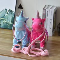 INS Hot Selling Running Unicorn Doll Singing Leash Pegasus Electric Plush Toys Children's Gifts