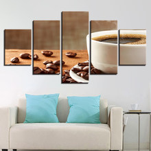 Canvas HD Prints Kitchen Restaurant Art Framework Poster 5 Pieces Coffee Beans And Coffee Cup Paintings Home Decor(China)