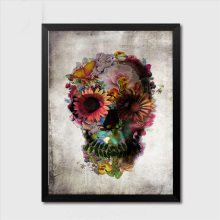 1 Pcs Frameless Flower Skull Abstract Print Gorgeous Halloween Theme Skull Canvas Paintings Wall Art Pictures For Home Decor