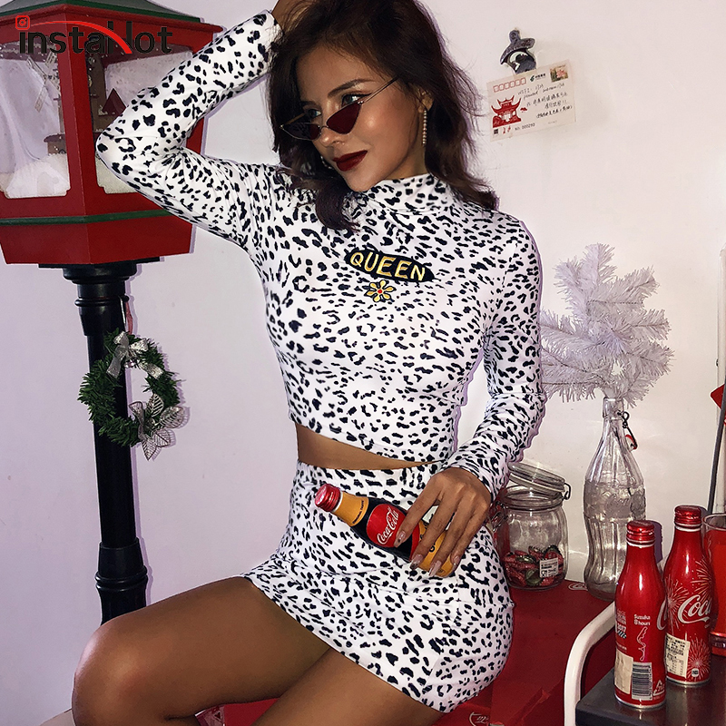 InstaHot Leopard Women Two Piece Set Letter Printed Turtleneck Long Sleeve Crop Top And Elastic Mini Skirt Autumn Casual Outfit