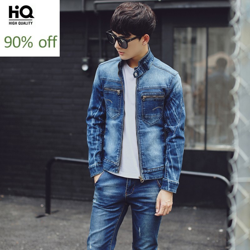 2020 Spring Autumn Men 2 Piece Set Long Sleeve Vintage Slim Biker Cowboy Jacket Men Short Denim Coat Zip Jeans Denim Overalls