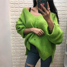 2019 autumn and winter candy color large size Korean version V-neck hole foreign gas wild personality sweater women