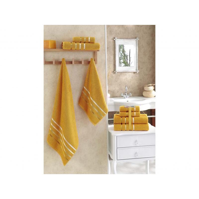 Towel Set KARNA, BALE, dark yellow, 4 subject towel set karna bale dark yellow 4 subject